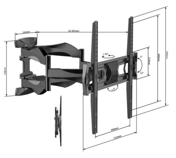 Alphason TV Mount Wall Bracket Full Motion Tilt & Swivel Slim For 32 - 60 Inch TV Screens ATVB862MA