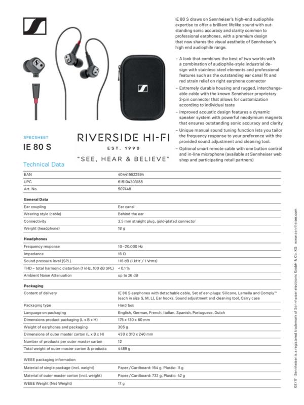 Sennheiser IE 80 S High-End Audiophile Earphones 2