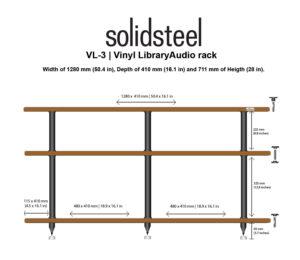 Solidsteel VL-3 | Vinyl Record Storage & Hi-Fi Rack (Walnut) 2